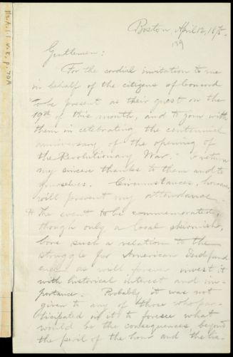 Draft of letter from William Lloyd Garrison, Boston, [Mass.], April 12, 1875