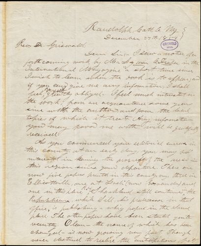 Charles Aldrich, Randolph, NY., autograph letter signed to R. W. Griswold, 27 December 1851
