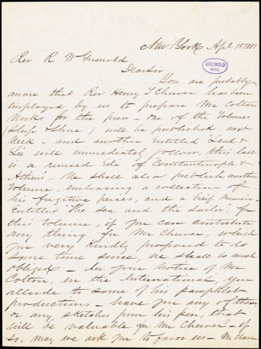 A. S. Barnes & Co., New York, autograph letter signed to R. W. Griswold, 15 April 1851