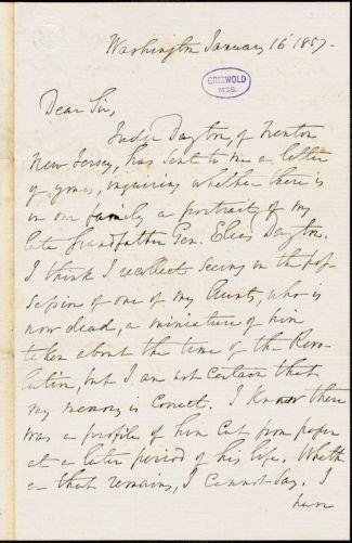Aaron Ogden Dayton, Washington, DC., autograph letter signed to R. W. Griswold, 16 January 1857