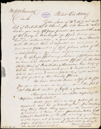 Abraham Hart, Philadelphia, PA., autograph letter signed to R. W. Griswold, 13 October 1847