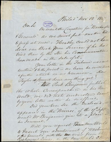Abraham Hart, Philadelphia, PA., autograph letter signed to [R. W. Griswold], 10 November 1847