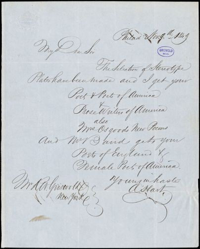 Abraham Hart, Philadelphia, PA., autograph letter signed to R. W. Griswold, 9 November 1849