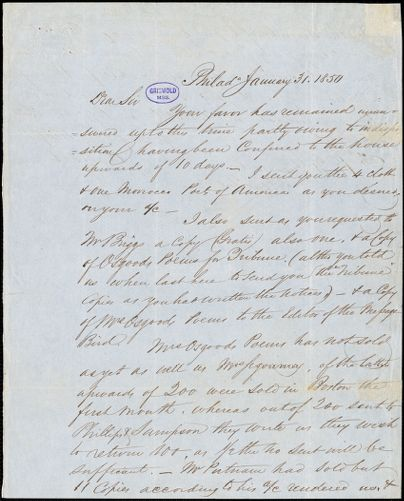 Abraham Hart, Philadelphia, PA., autograph letter signed to R. W. Griswold, 31 January 1850