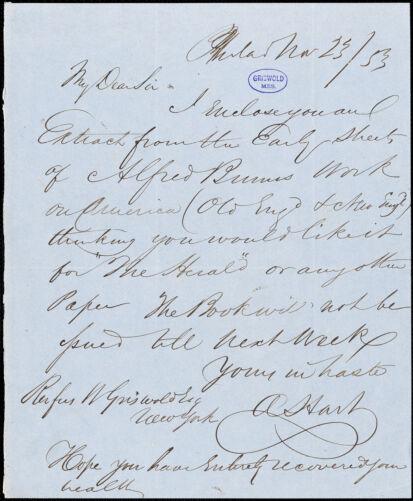 Abraham Hart, Philadelphia, PA., to R. W. Griswold, 23 November 1853