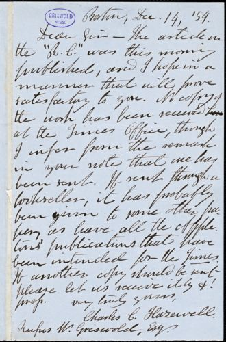 Charles C. Hazewell, Boston, MA., autograph letter signed to R. W. Griswold, 14 December 1854