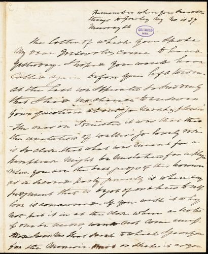 Charles Fenno Hoffman, New York, autograph letter signed to R. W. Griswold, 11 January 1842