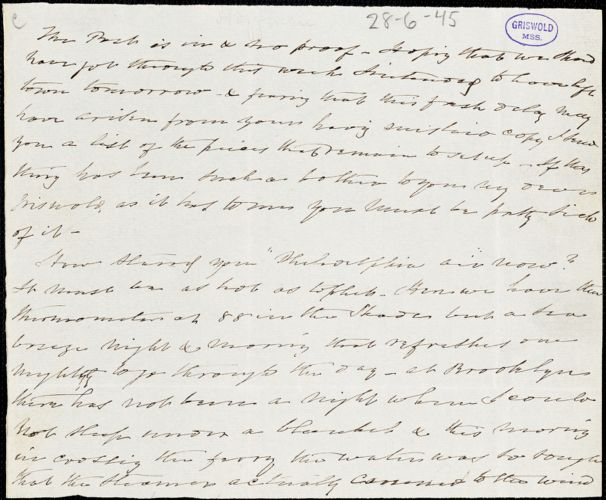 Charles Fenno Hoffman autograph letter signed to R. W. Griswold, [28 June 1845?]
