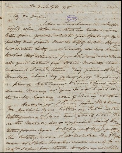 Charles Fenno Hoffman, New York, autograph letter signed to R. W. Griswold, 11 July 1845