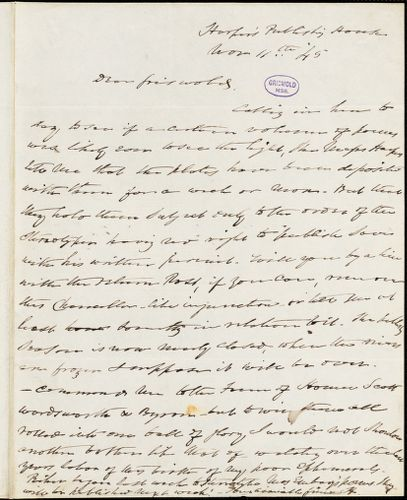 Charles Fenno Hoffman, Harper's Publishing house, autograph letter signed to R. W. Griswold, 11 November 1845