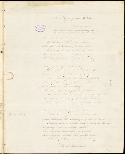 """A. F. Huston manuscript poem: """"The Lead of the Wave."""""""