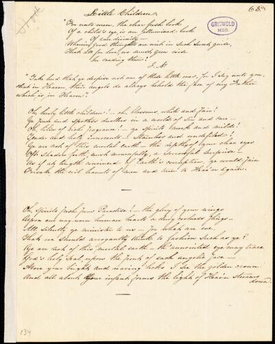"A. F. Huston manuscript poem: ""Little Children."""