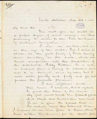Abijah M. Ide Jr., South Attleborough, MA., autograph letter signed to Edgar Allan Poe, 1 October 1843