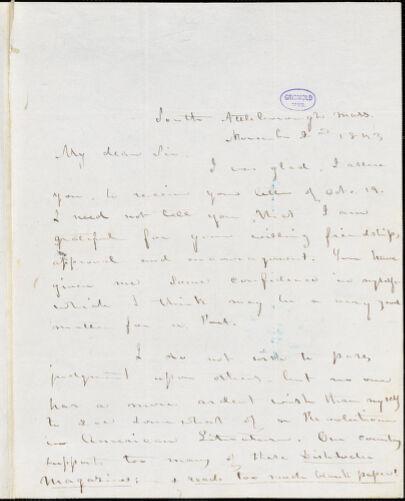Abijah M. Ide Jr., South Attleborough, MA., autograph letter signed to Edgar Allan Poe, 2 November 1843