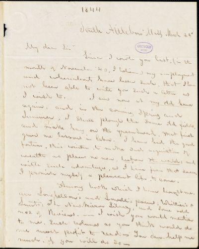 Abijah M. Ide Jr., South Attleborough, MA., autograph letter signed to Edgar Allan Poe, 23 March [1844]