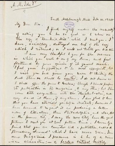 Abijah M. Ide Jr., South Attleborough, MA., autograph letter signed to Edgar Allan Poe, 16 February 1845