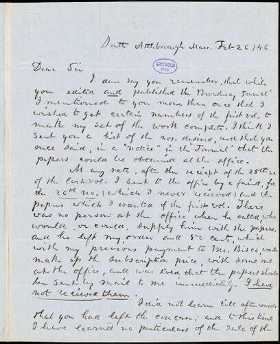 Abijah M. Ide Jr., South Attleborough, MA., autograph letter signed to Edgar Allan Poe, 26 February 1846
