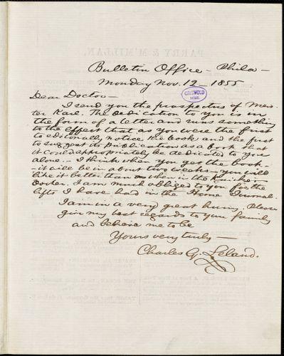 Charles Godfrey Leland, Bulletin Office., Philadelphia, PA., autograph letter signed to [R. W. Griswold], 12 November 1855