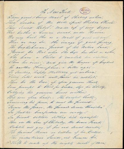 "A. P. Southron (pseudonym) manuscript poem: ""To New York."""