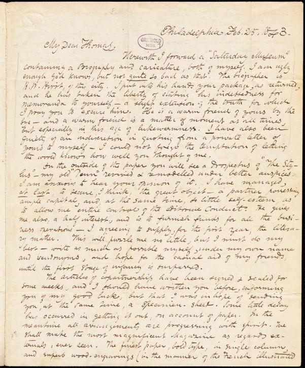 Edgar Allan Poe, Philadelphia, PA., autograph letter signed to Frederick W. Thomas, 25 February 1843