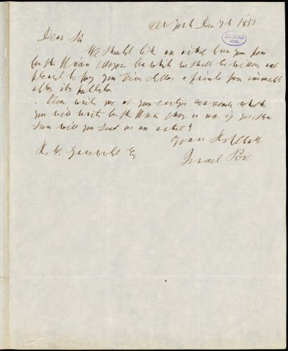 Israel Post, New York, autograph note signed to R. W. Griswold, 7 December 1847