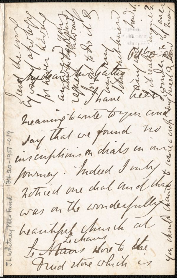 Emily Tennyson autograph letter signed to Mrs. Gatty, Farringford, [Isle of Wight], 13 October 1864