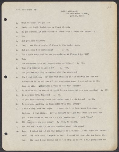 Sacco-Vanzetti Case Records, 1920-1928. Defense Papers. Materials re: Orciani, Boda, Coacci, Carbonieri, Bostock, Manning, Ray: Statement of Harry Arrigone, April 27, 1921. Box 5, Folder 58, Harvard Law School Library, Historical & Special Collections