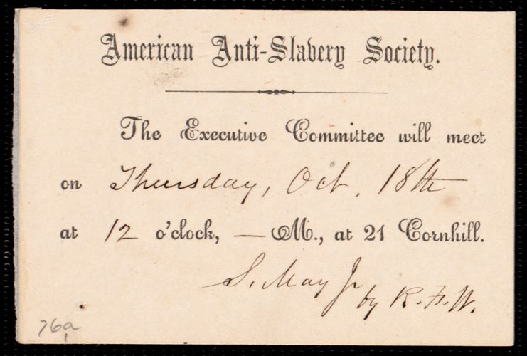 Invitation to a meeting of the Executive Committee from American Anti-Slavery Society sent to Samuel May Jr.