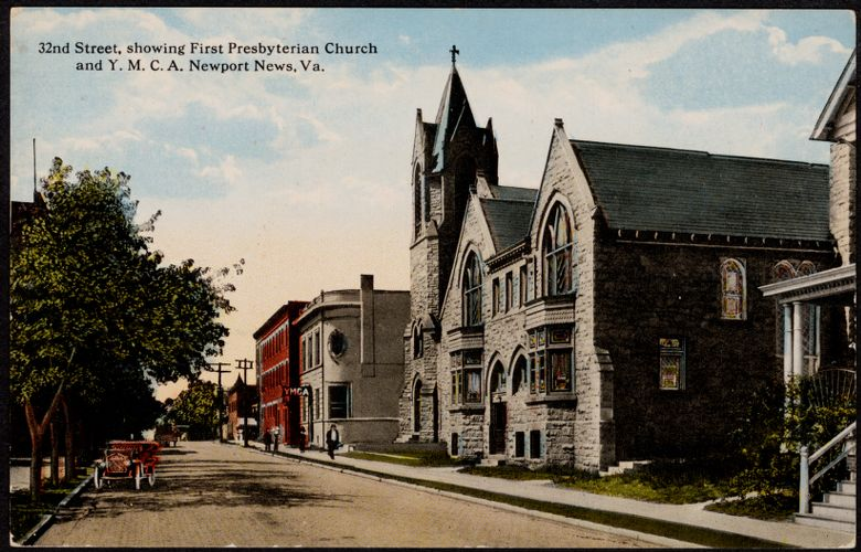 32nd Street, showing First Presbyterian Church and Y.M.C.A. Newport News, Va.
