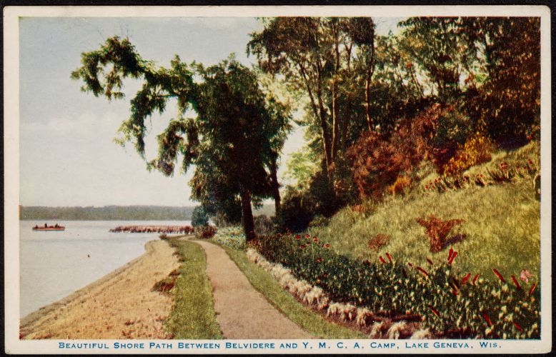 Beautiful shore path between Belvidere and Y.M.C.A. Camp, Lake Geneva, Wis.