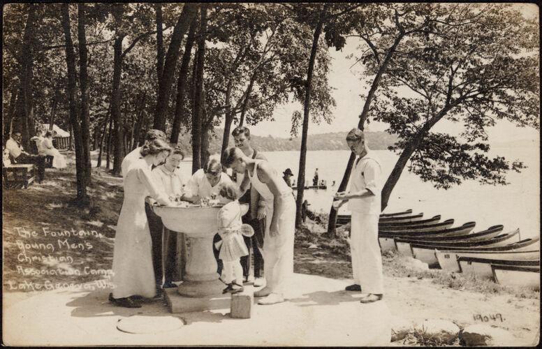 The fountain, Young Men's Christian Association Camp, Lake Geneva, Wis.