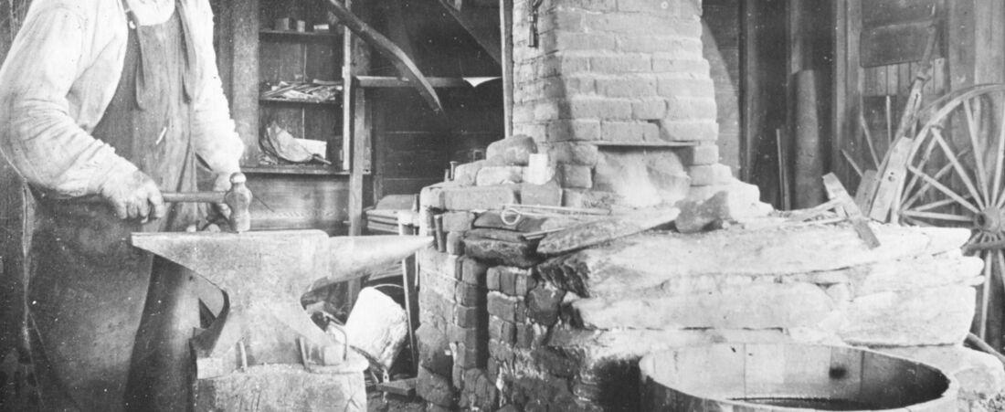 Blacksmith George Calkins at Work