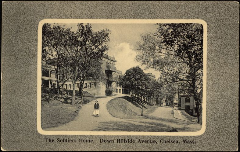 The Soldiers Home. Down Hillside Avenue, Chelsea, Mass.