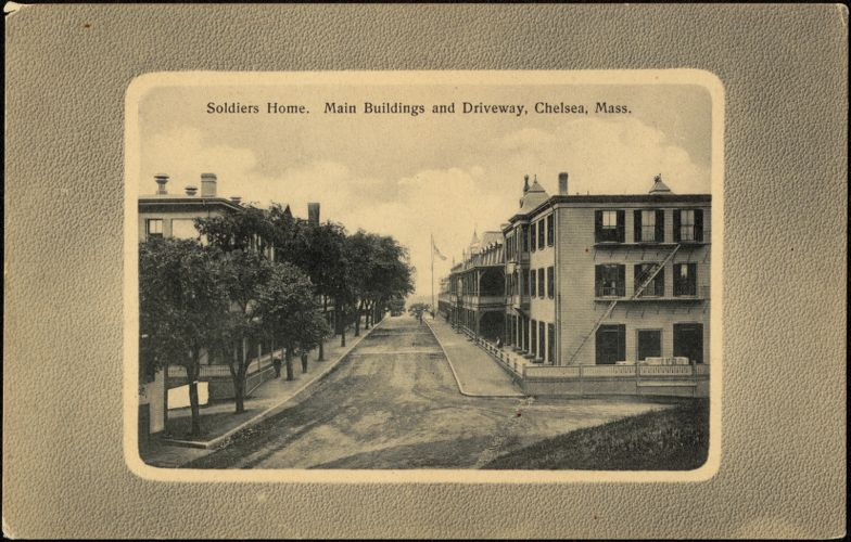 Soldiers Home. Main buildings and driveway, Chelsea, Mass.
