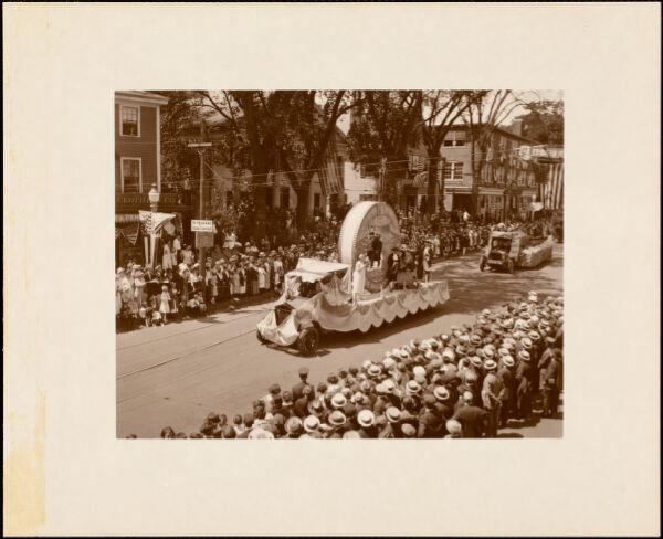 Plymouth  Tercentenary celebration, parade, President Day, August 1, 1921, float by Brockton, MA, representing Sachem's Rock, 1649