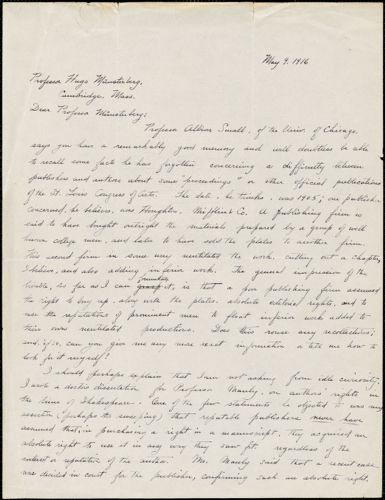 Albright, Evelyn May, 1880-1942 autograph letter signed to Hugo Münsterberg, Chicago, 09 May 1916
