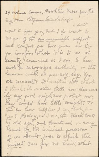 Ames, A. S. autograph letter signed to Hugo Münsterberg, Brookline, Mass., 01 June 1912
