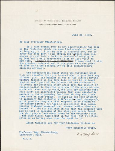 Ames, Winthrop, 1870-1937 typed letter signed to Hugo Münsterberg, New York, 23 June 1916