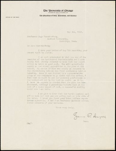 Angell, James Rowland, 1869-1949 typed letter signed to Hugo Münsterberg, Chicago, 09 May 1912