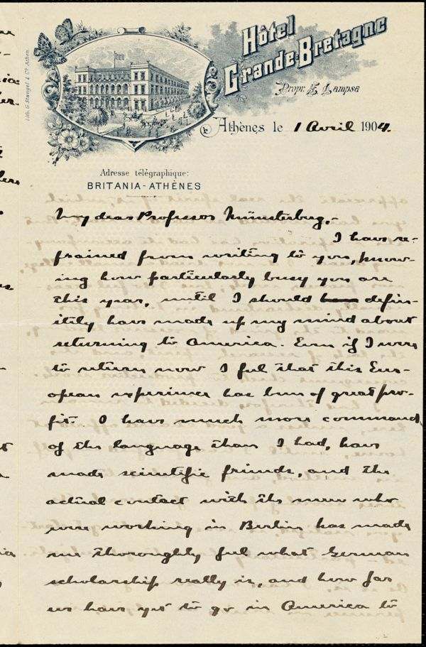 Angier, Roswell Parker, 1874-1946 autograph letter signed to Hugo Münsterberg, Athens, 01 April 1904