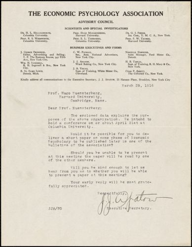 Apatow, John. J., [The Economic Psychology Association], typed letter signed to Hugo Münsterberg, Brooklyn, N.Y., 29 March 1916