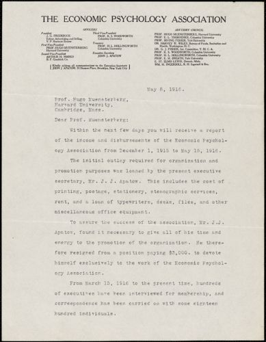 Apatow, John. J., [The Economic Psychology Association], typed letter signed to Hugo Münsterberg, Brooklyn, N.Y., 08 May 1916