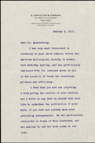 Appleton, William Worthen, 1845-1924 typed letter signed to Hugo Münsterberg, New York, 03 January 1913
