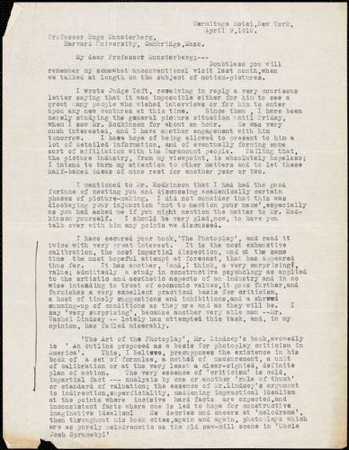 Ashley, Raymond T. fl.1916 typed letter signed to Hugo Münsterberg, New York, 09 April 1916