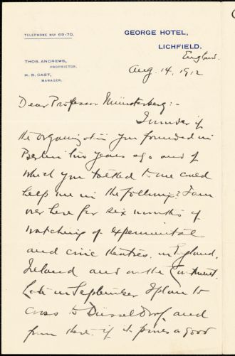 Baker, George Pierce, 1866-1935 autograph letter signed to Hugo Münsterberg, Lichfield, Eng., 14 August 1912
