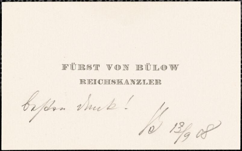Bülow, Bernhard, Fürst von, 1849-1929 card