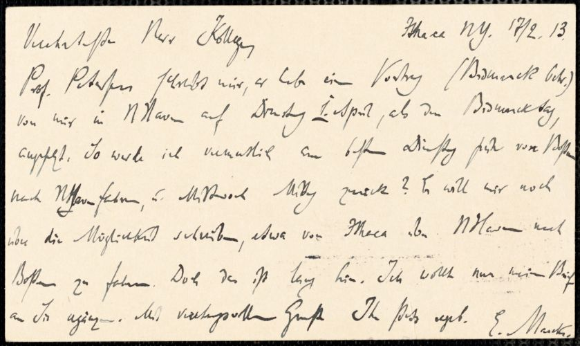Marcks, Erich, 1861-1938 autograph letter signed to Hugo Münsterberg, Ithaca, N.Y., 17 February 1913