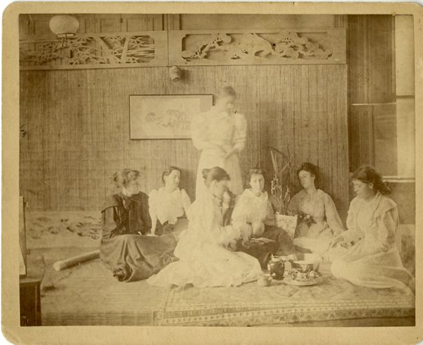 A group of students having tea