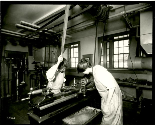 Two female students in woodshop