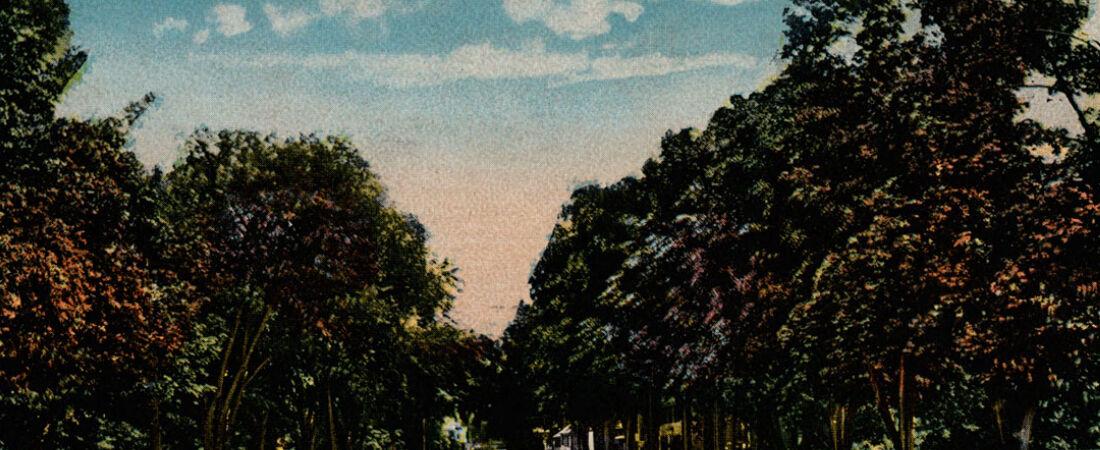 Saltenstall Park on Main Street looking east.